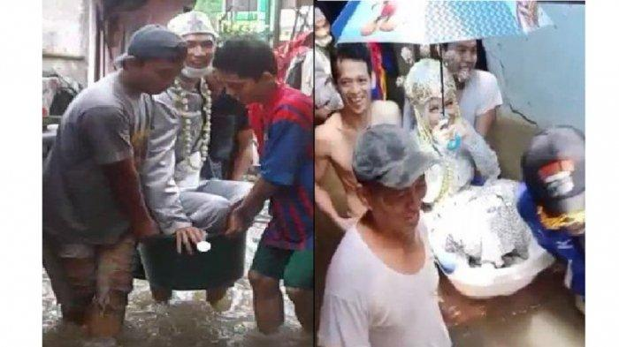 Viral Sepasang Pengantin Terobos Banjir Pakai Bak Bayi, Kekompakan Warga yang Membantu Jadi Sorotan