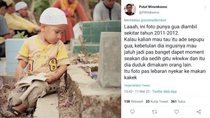 Viral Foto Anak Kecil Terlihat Sedih saat Duduk di Samping Makam, Terungkap Fakta Dibaliknya