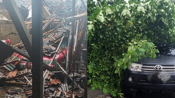 BREAKING NEWS : Puting Beliung Porak-porandakan Gondangrejo, Fortuner & Sedan Tertimpa Pohon & Atap