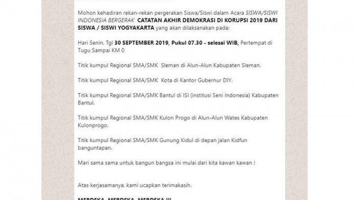 Disdikpora Yogyakarta Tanggapi Edaran soal Ajakan Aksi untuk Pelajar SMA/SMK