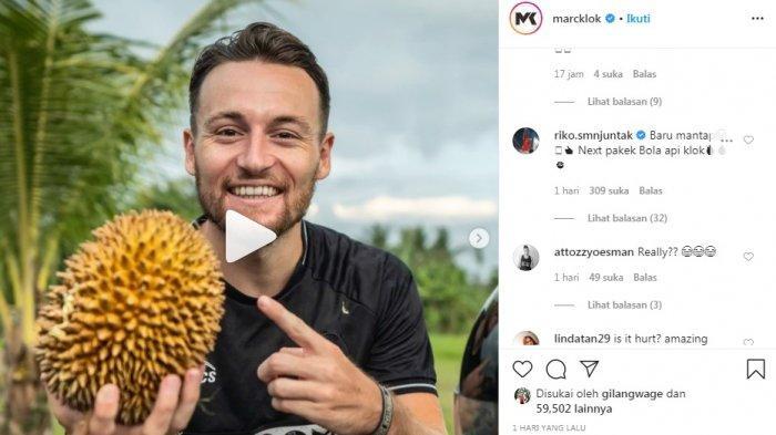 Terima Tantangan Netizen, Begini Aksi Marc Klok Juggling Pakai Durian