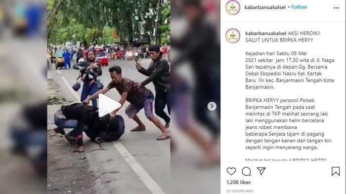 Viral Gulat Jalanan Polisi vs Pria Bersenjata di Banjarmasin, Berdarah-darah Demi Selamatkan Warga