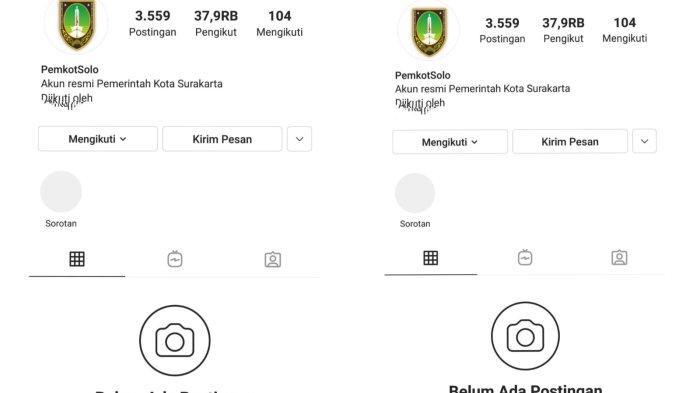 Tampilan Instagram Pemkot Solo yang Berkali-kali Dibobol Hacker : Putih Bersih, Kini Dinonaktifkan