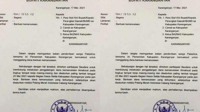 Surat edaran yang ditandatangani oleh Bupati Karanganyar, Juliyatmono perihal bantuan kemanusiaan kepada Palestina.