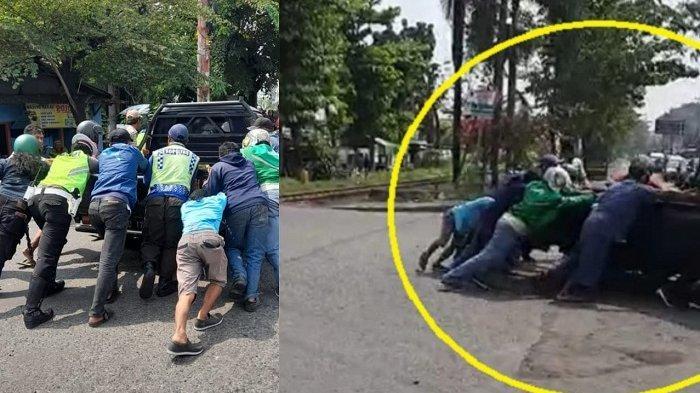 Detik-detik Polisi & Ojol Evakuasi Mobil Mogok di Rel Joglo Solo : Menegangkan, Kereta di Depan Mata
