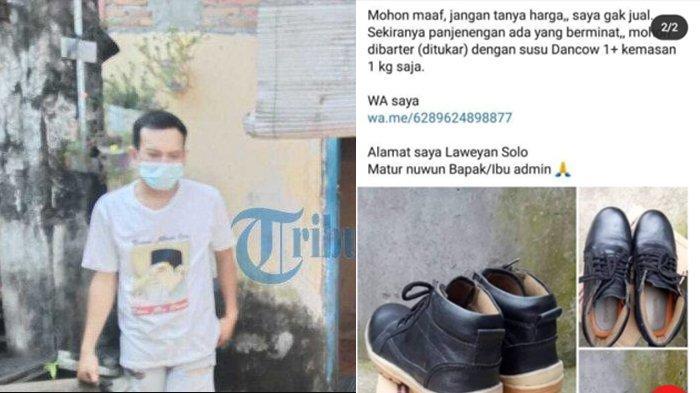 Tak Punya Uang Lagi, Karyawan Cleaning Service di Solo Tawarkan Sepatunya, Tukar Sekotak Susu Anak