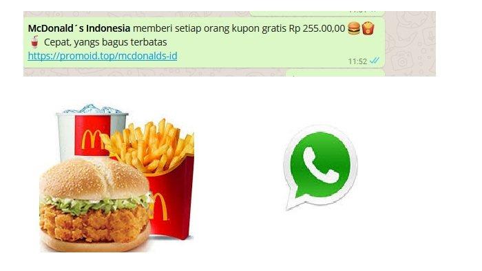 Beredar Broadcast Kupon Gratis Rp 225.000,00 Dari McDonald's Indonesia, Ini Faktanya!