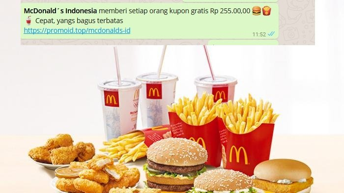 McDonald's Indonesia Klarifikasi Soal Broadcast Kupon Gratis Rp 225.000,00 yang Beredar di WhatsApp