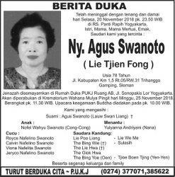 Berita Duka - Ny Agus Swanoto (Lie Tjien Fong)