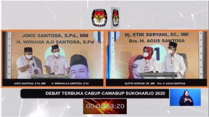 Debat Publik Pilkada Sukoharjo 2020, Paslon EA dan Joswi Pakai Masker dan Sarung Tangan