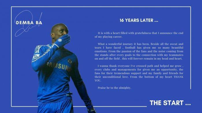 Eks Striker Chelsea Demba Ba menyatakan dirinya pensiun dari pesepakbola.
