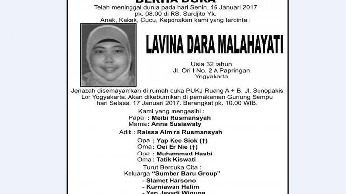 Berita Duka - Lavina Dara Malahayati