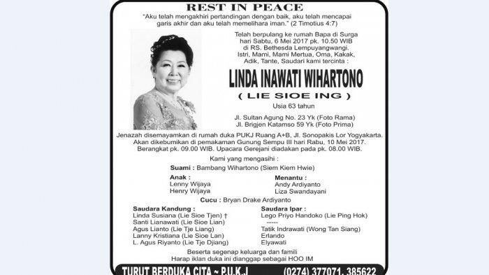 Rest in Peace - Linda Inawati Wihartono (Lie Sioe Ing)