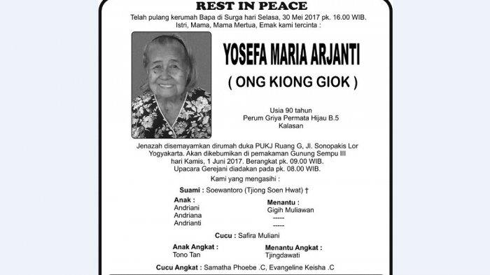 Rest in Peace - Yosefa Maria Arjanti (Ong Kiong Giok)