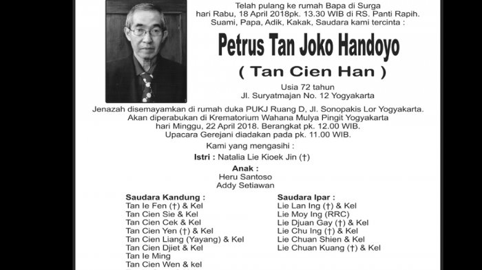 Rest in Peace - Petrus Tan Joko Handoyo