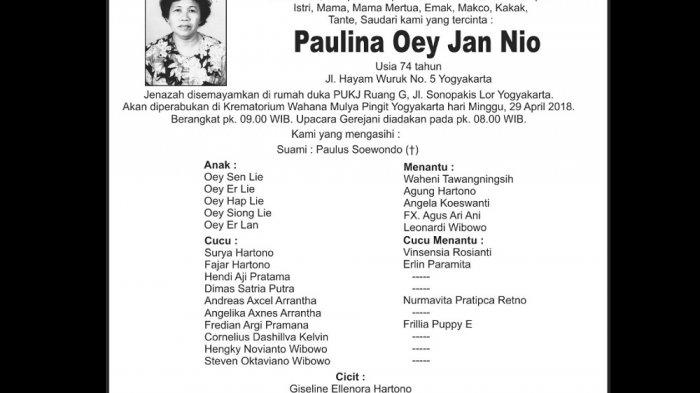 Rest in Peace - Paulina Oey Jan Nio