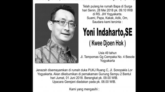 Rest in Peace - Yoni Indaharto ( Kwee Djoen Hok )
