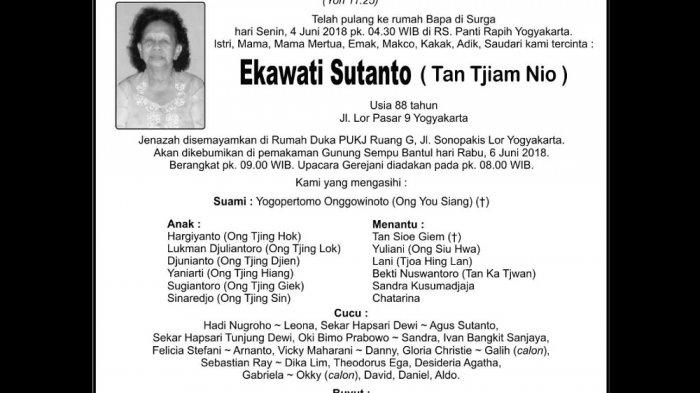 Rest in Peace - Ekawati Sutanto ( Tan Tjiam Nio )
