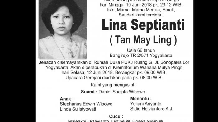 Rest in Peace - Lina Septianti ( Tan May Ling )