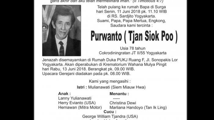 Rest in Peace - Purwanto ( Tjan Siok Poo )