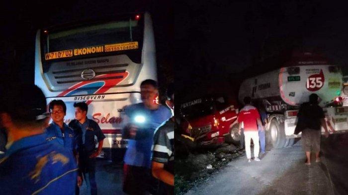 Petaka Kembali di Sambungmacan Sragen, Kini Kecelakaan Truk Tangki Pertamina Vs Bus Sumber Selamat