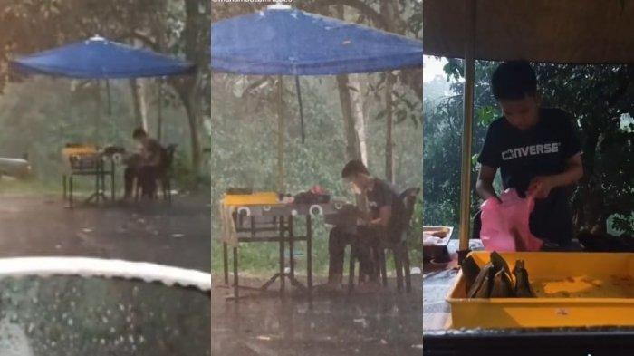 Pria Ini Lihat Ada Pemuda yang Masih Tetap Jualan di Tengah Hujan Deras, Aksi Mulianya Bikin Kagum