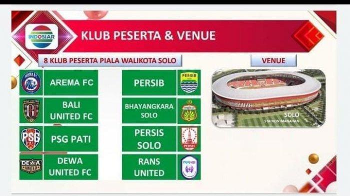 Daftar 8 Klub Piala Wali Kota Solo : Ada Persis, Persib dan 6 Tim Lain, Arema FC Pastikan Ikut