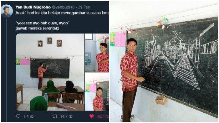 Gara-gara Gambarnya Viral, Guru asal Purworjo Banjir Follower di Twitter & Pujian dari Rekan Kerja