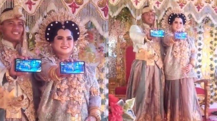 Viral di Tiktok, Pengantin Buka Aplikasi Game Free Fire di Pelaminan Saat Sesi Foto Pernikahan