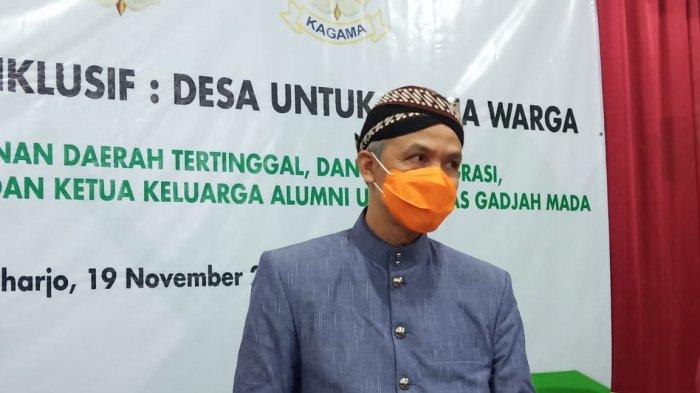 Ganjar Pranowo pada saat menghadiri pencenangan Desa inklusif di Desa Jatisobo, Kecamatan Polokarto, Sukoharjo, Kamis (19/11/2020).