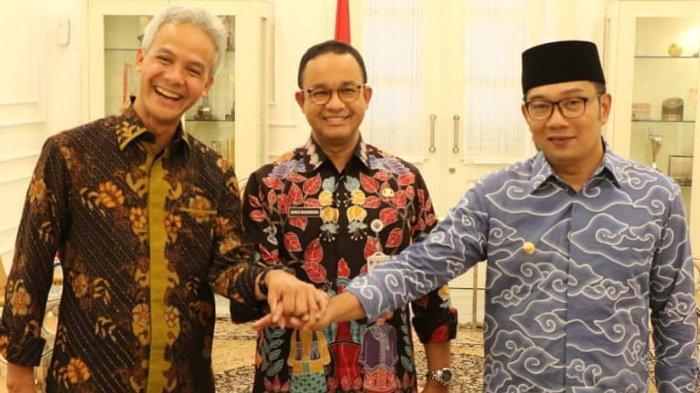 Ganjar Pranowo, Anies Baswedan, dan Ridwan Kamil usai menerima Penghargaan Provinsi Terbaik, Senin (5/11/2018).