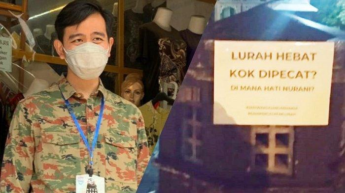 Gibran saat keliling mengembalikan uang pungli dan muncul tulisan pasca Lurah Suparno dipecat Gibran di kawasan Kelurahan Gajahan, Kecamatan Pasar Kliwon, Kota Solo, Minggu (2/5/2021) malam.