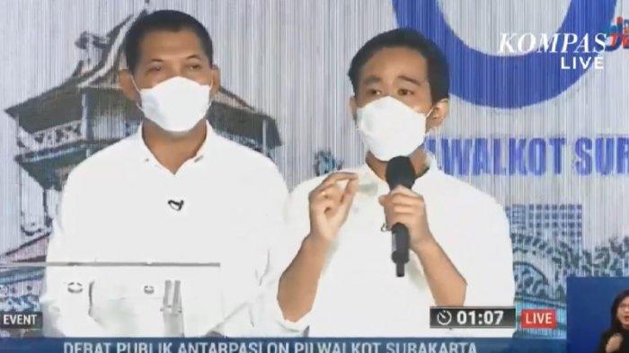 Gibran Rakabuming Raka-Teguh Prakosa saat debat Pilkada Solo 2020 di The Sunan Hotel Solo, Jumat (6/11/2020).