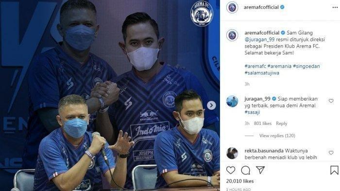 Gilang Juragan 99 Bikin Geleng-geleng, Baru Dilantik Jadi Presiden Arema FC, Langsung Bidik Pemain