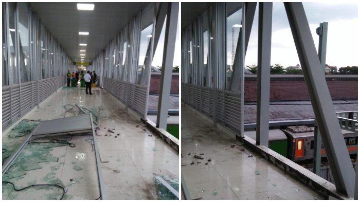 Hujan Deras Disertai Angin Kencang, Kaca Jembatan Skybride Penghubung Tirtonadi & Balapan Solo Pecah