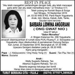 Rest in Peace - Barbara Lidwina Anggriani (Ong Gwat Nio)