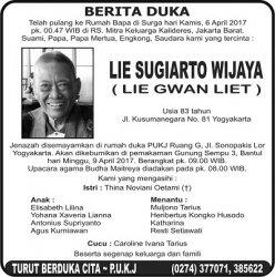 Berita Duka - Lie Sugiarto Wijaya (Lie Gwan Liet)