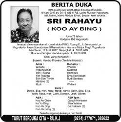 Berita Duka - Sri Rahayu (Koo Ay Bing)