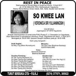 Rest in Peace - So Kwee Lan (Veronica Sri Tulianingsih)