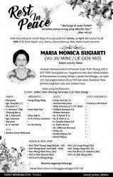 Rest in Peace - Maria Monica Sumarti (Hu Jiu Ming/Lie Giok Nio)