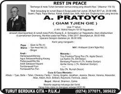 Rest in Peace - A Pratoyo (Giam Tjien Gie)
