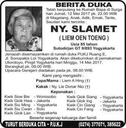 Berita Duka - Ny Slamet (Liem Oen Toeng)