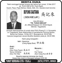 Berita Duka - Buyung Gautama (Gou Kie Lay)