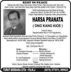 Rest in Peace - Harsa Pranata (Ong Kang Kioe)