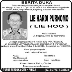 Berita Duka - Lie Hardi Purnomo (Lie Hoo)