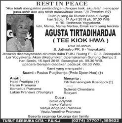 Rest in Peace - Agusta Tirtadihardja (Tee Kiok Hwa)