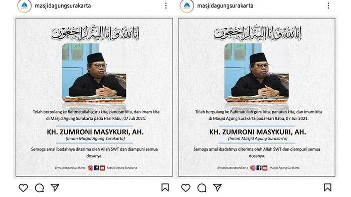 Kabar Duka : Imam Masjid Agung Solo KH Zumroni Masykuri Meninggal Dunia, Positif Covid-19