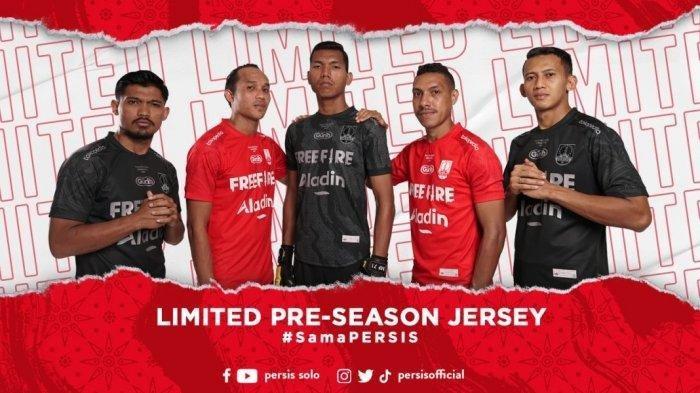 Jersey baru penggawa Persis Solo untuk mengarungi Piala Wali Kota Solo 2021 di Stadion Manahan Solo, Surakarta, Jawa Tengah pada 29 Juni-4 Juli 2021.