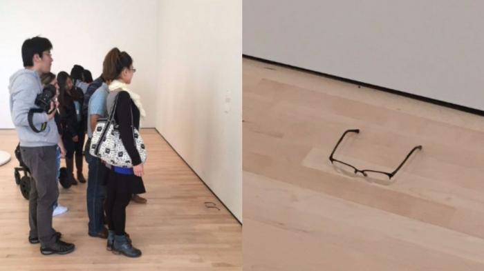 Karena Keisengan Seseorang, Kacamata yang Sengaja Ditaruh di Lantai Ini Dikira Karya Seni