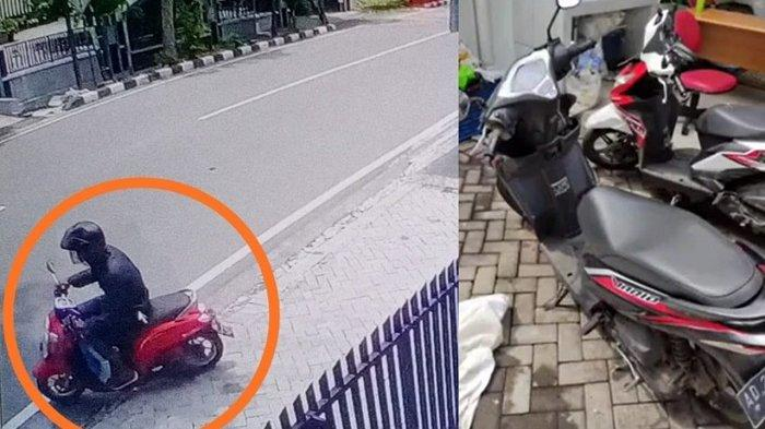 Kolose : Dalam lingkaran diduga maling motor Honda Scoopy merah dan motor Vario yang ditinggalkannya di parkiran kantor jasa pengiriman Si Cepat, Jalan Monginsidi, Kelurahan Setabelan, Kecamatan Banjarsari, Kota Solo, Jumat (5/2/2021).